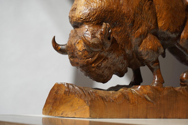 20th Century Bison Sculpture in Wood For Sale