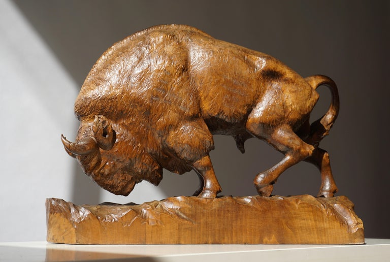 Bison Sculpture in Wood For Sale 2