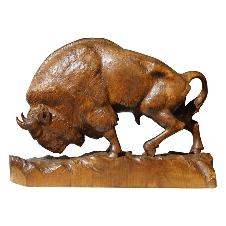 Bison Sculpture in Wood For Sale