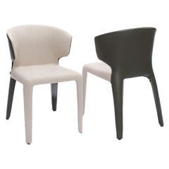 Bisque Linen and Moss Leather Covered Hola Chair, Cassina