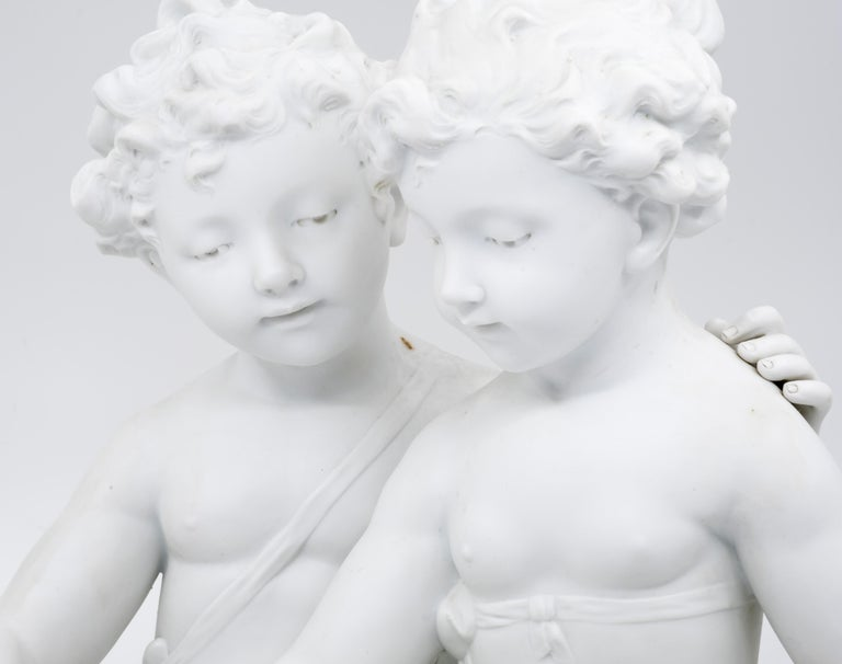 Bisque Porcelain a Stature of Boy and Girl Reading a Book, French, 19th Century In Good Condition For Sale In Lantau, HK
