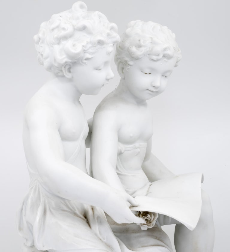Bisque Porcelain a Stature of Boy and Girl Reading a Book, French, 19th Century For Sale 2