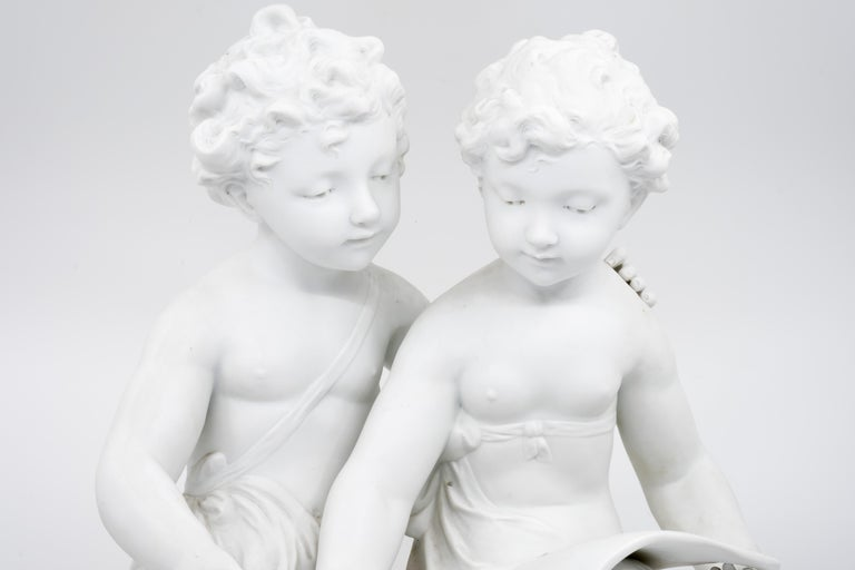 Bisque Porcelain a Stature of Boy and Girl Reading a Book, French, 19th Century For Sale 3