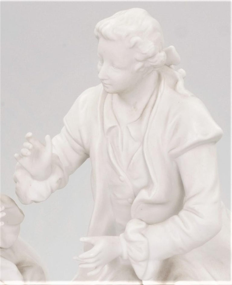 Molded Bisque Porcelain Couple in Conversation French 19th Century For Sale