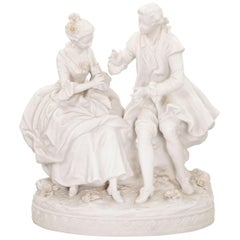 Bisque Porcelain Couple in Conversation, French, 19th Century