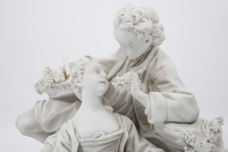 Classical Roman Bisque Porcelain Couple with Grapes, 19th Century French Sèvres For Sale