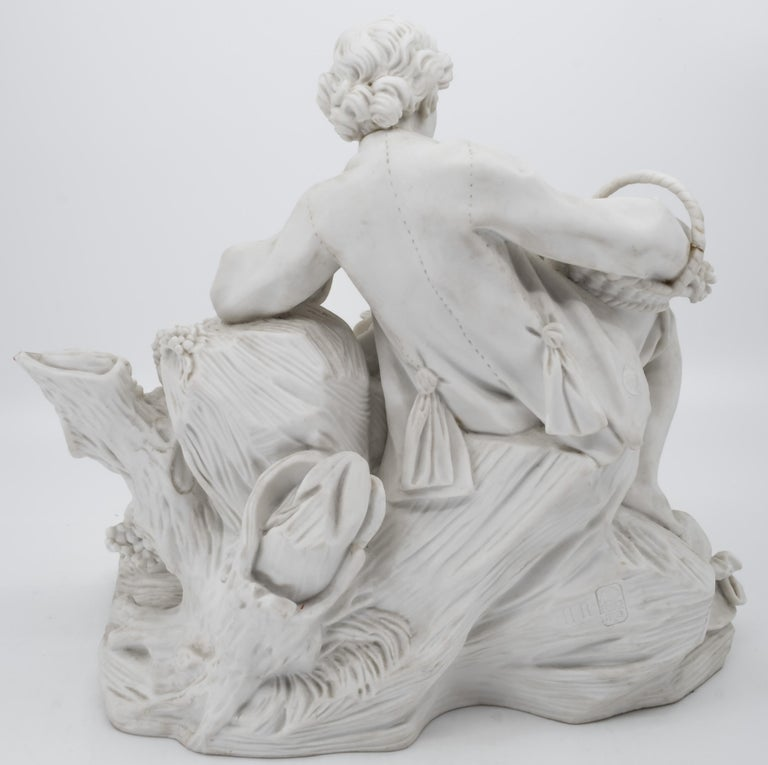 Carrara Marble Bisque Porcelain Couple with Grapes, 19th Century French Sèvres For Sale