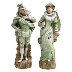 Bisque Porcelain Victorian Lady and Gent Figurine, Germany