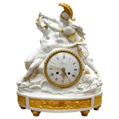 Bisquit Porcelain and Gilt Bronze Figural Clock of Perseus Freeing Andromeda