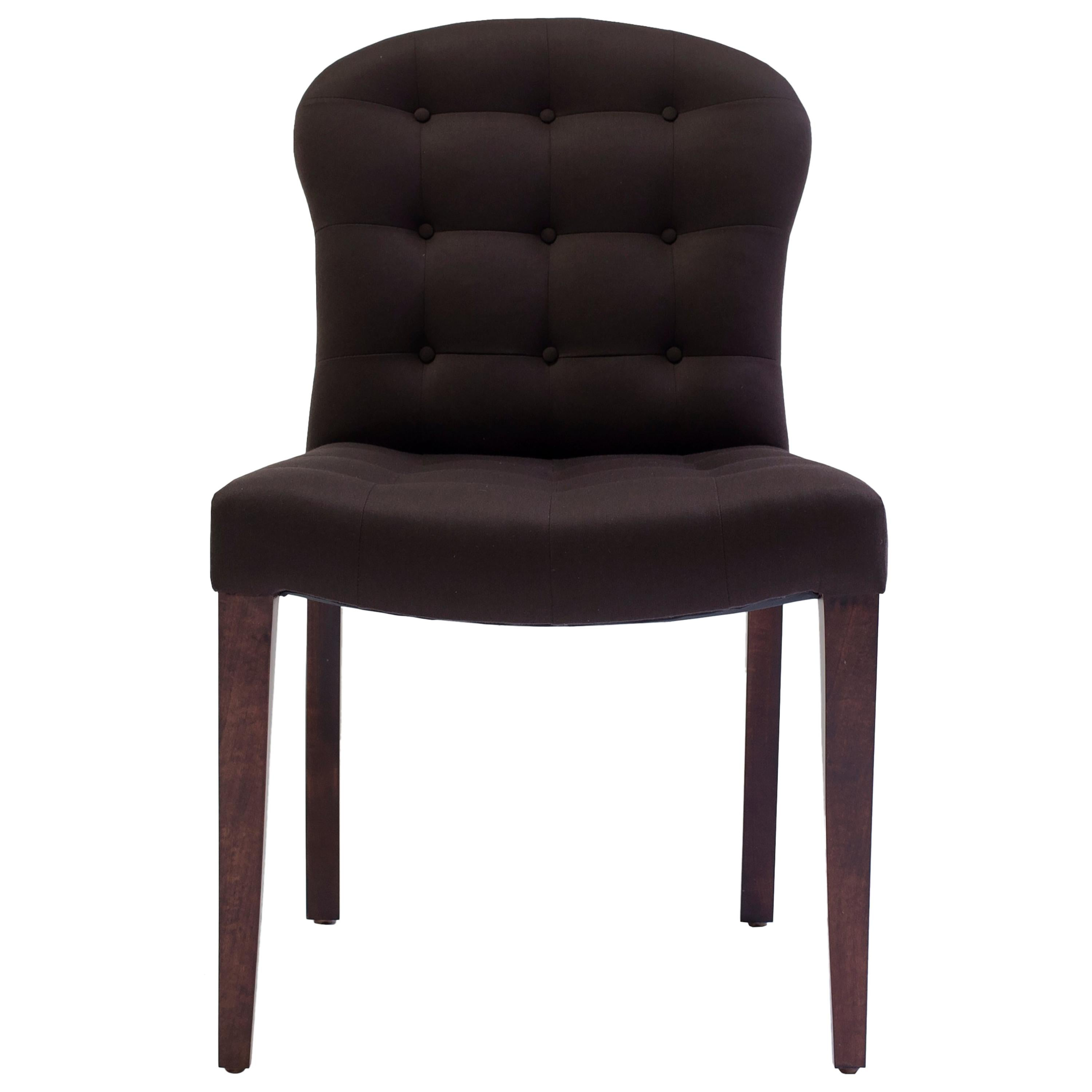 Bisquit Tufted Dining Side Chair with Wood Legs and Balloon Shaped Back