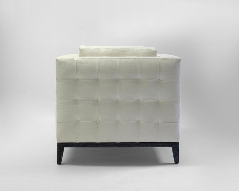 Bisquit Tufted Square Arm Club Chair with Wood Frame and Button Detailing 3