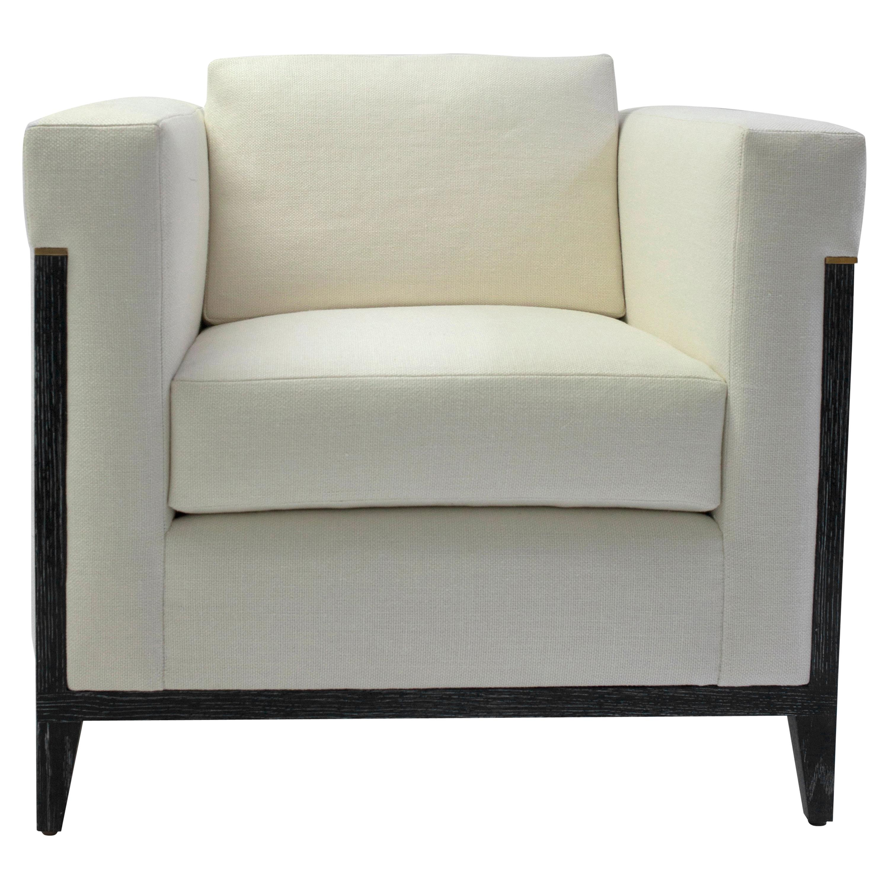 Bisquit Tufted Square Arm Club Chair with Wood Frame and Button Detailing