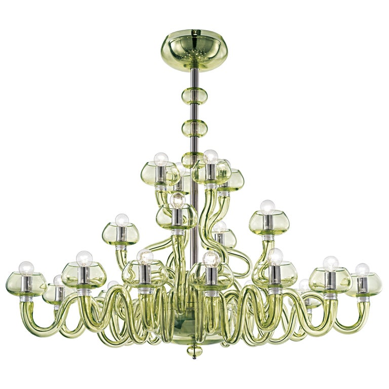 For Sale: Green (Liquid Citron_EL) Bissa Boba 6753 20 Chandelier in Chrome, by Angelo Barovier from Barovier&Toso