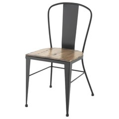 Bistro Garden Chairs in Colors Wrought Iron with Wood Seat