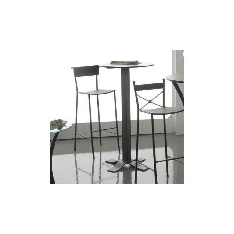 High Tables For Sale: Bistro High Table In Wrought Iron With Marble Top. Indoor
