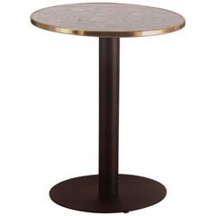 Bistro Table in Wrought Iron with Marble and Brass Top Indoor and Outdoor