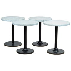 Bistro Table with White Marble Top and Heavy Iron Base, France, 1950s