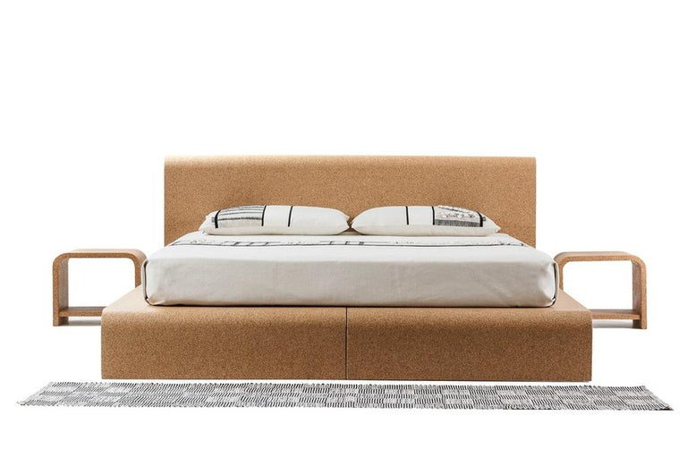 Bisu cork bedside, designed and manufactured by OTQ, is the best companion to the Bisu cork bed. This Sardinian bed system is the first in the world capable to join functionality, ethics of well-being and design. The absence of metallic components,
