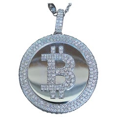 Bit Coin Crypto Currency Diamond and White Gold Solid Pendant, 6.5 Carat TW