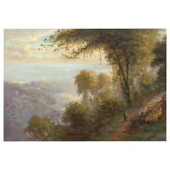 """Bit on the Old Road to Darjeeling"" '1898' Antique Barbizon Painting"