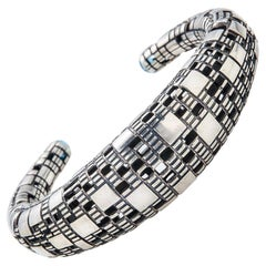 Bitcoin Blockchain Silver Cuff Bracelet