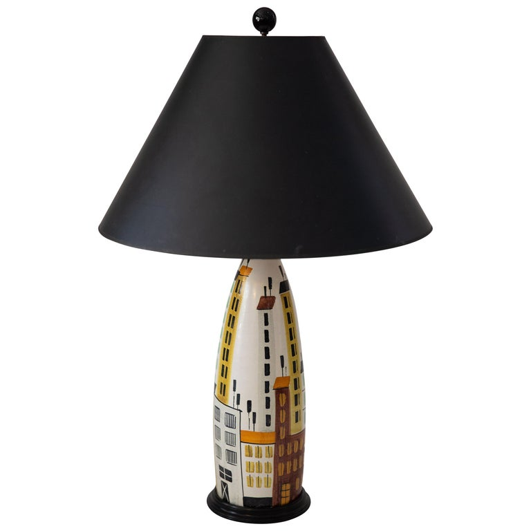 Bitosi Raymor Midcentury Tall Ceramic Hand Painted Cityscape Table Lamp