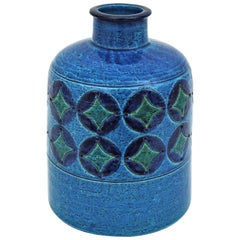 Bitossi Aldo Londi Blue Ceramic Large Bottle Vase with Circles & Rhombus Pattern
