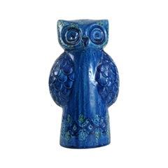 Bitossi Aldo Londi Blue Spagnolo Owl, Italy, circa 1968