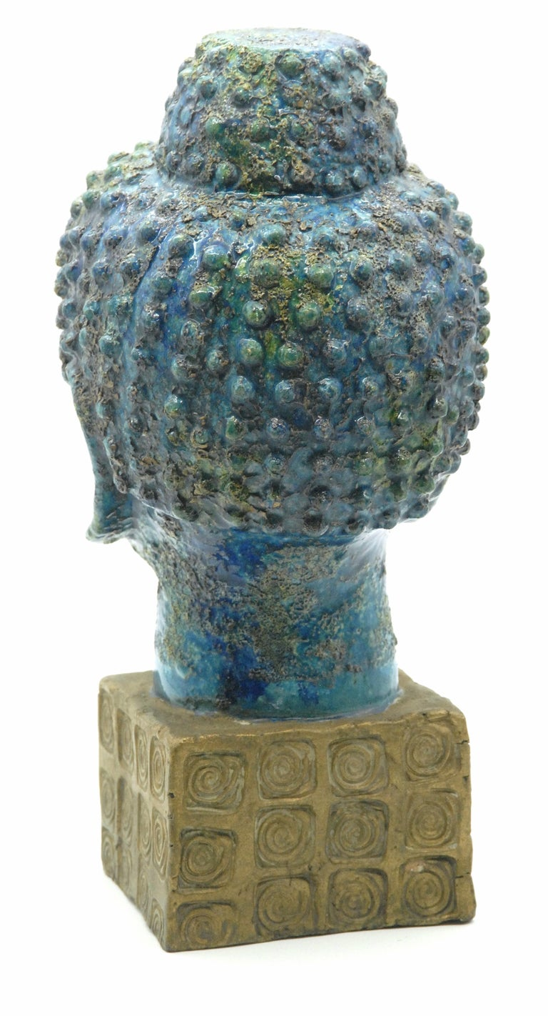 Hand-Crafted Bitossi Aldo Londi 'Cinese' Glaze Buddha, Italy, circa 1968 For Sale