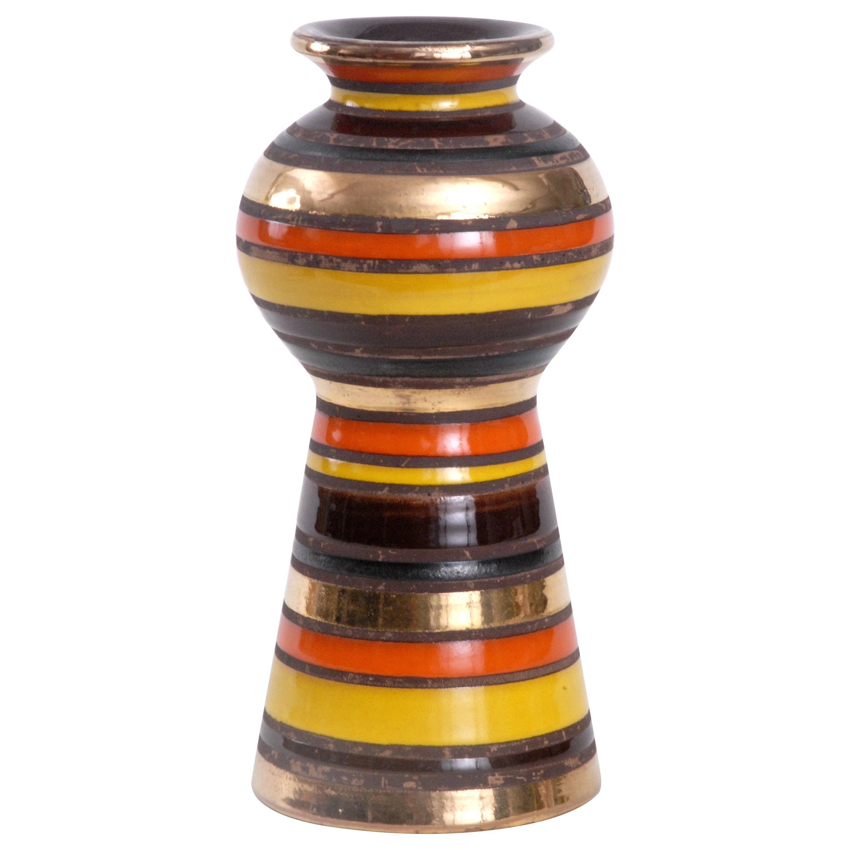 Bitossi Aldo Londi Orange/Gold/Yellow Thailand pattern Vase, Italy, circa 1968