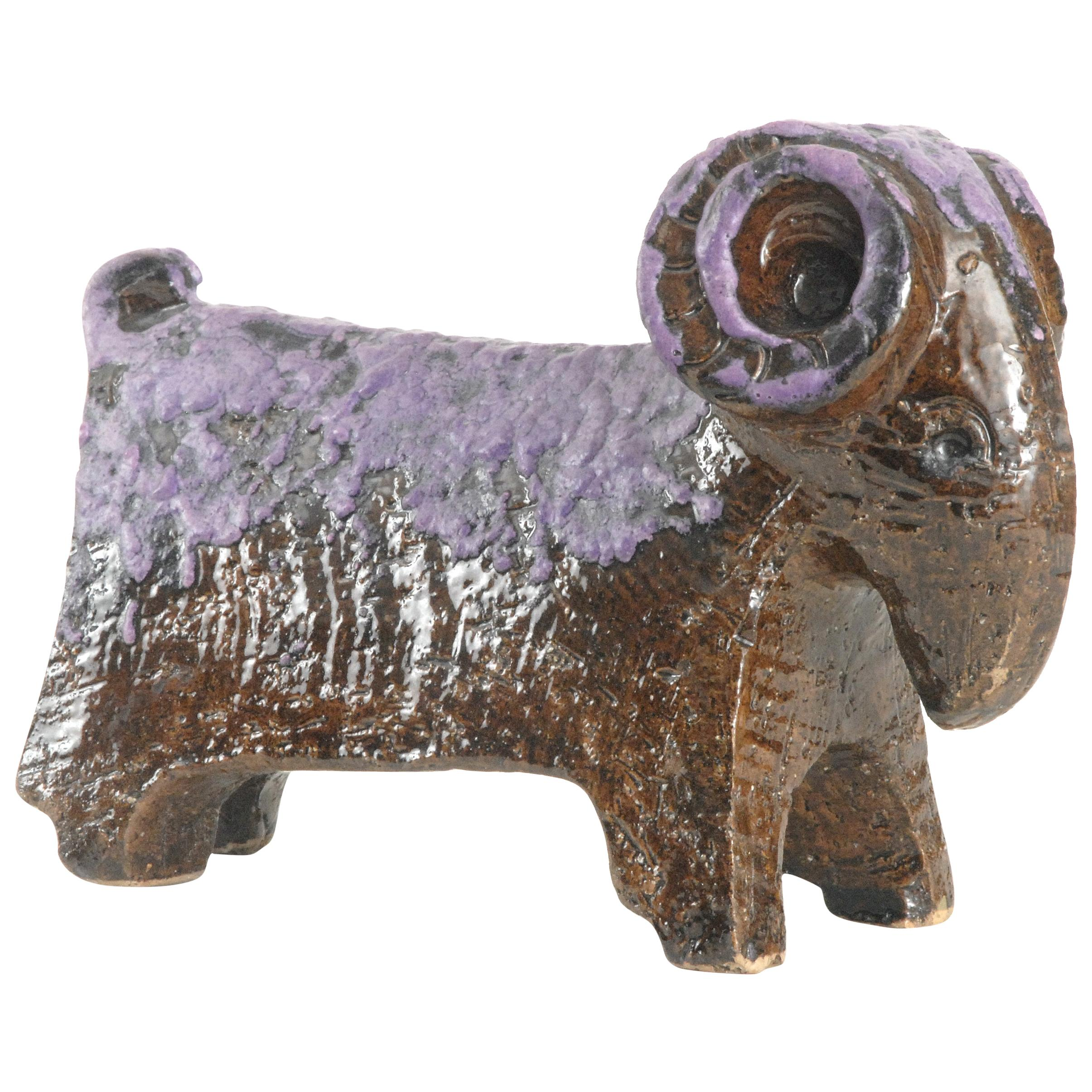 Bitossi Aldo Londi purple ram Italy, circa 1968