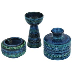 Bitossi Aldo Londi Rimini Blue Ceramic Set of Vase, Ashtray and Candleholder