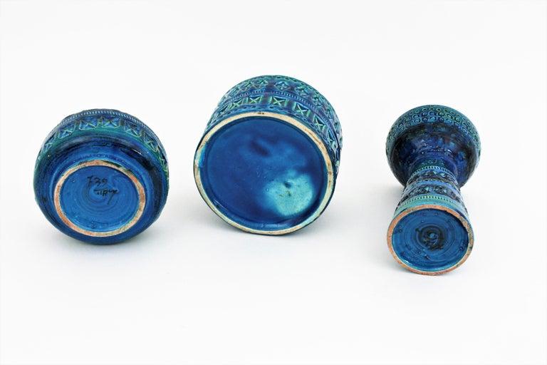 Bitossi Aldo Londi Rimini Blue Ceramic Set of Vase, Ashtray and Candleholder For Sale 5