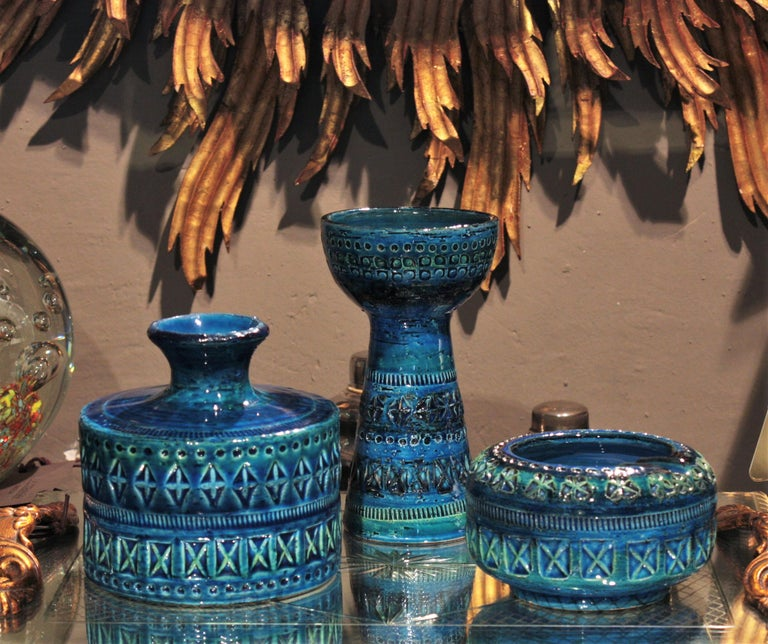 Bitossi Aldo Londi Rimini Blue Ceramic Set of Vase, Ashtray and Candleholder For Sale 7