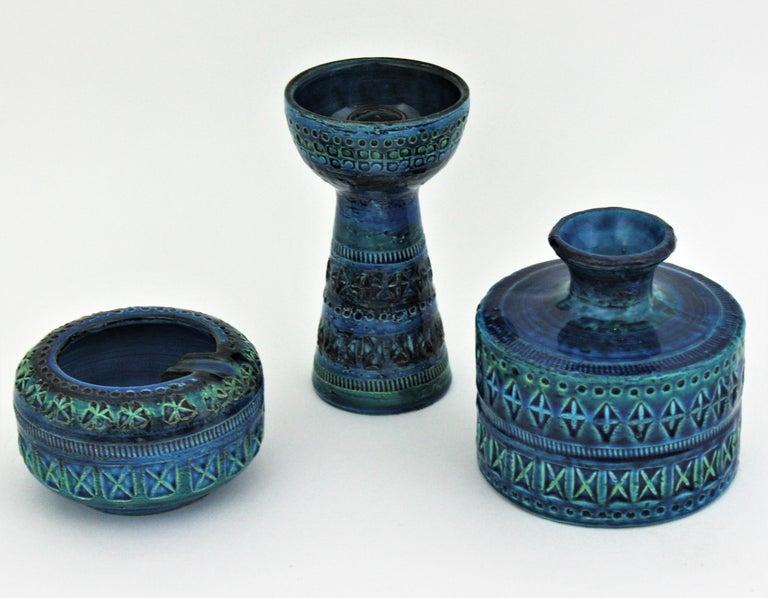 Bitossi Aldo Londi Rimini Blue Ceramic Set of Vase, Ashtray and Candleholder For Sale 8