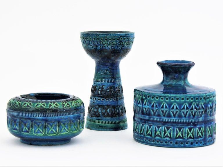 Mid-Century Modern Bitossi Aldo Londi Rimini Blue Ceramic Set of Vase, Ashtray and Candleholder For Sale