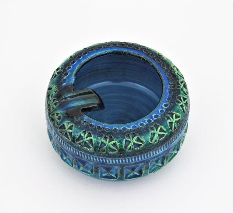 Glazed Bitossi Aldo Londi Rimini Blue Ceramic Set of Vase, Ashtray and Candleholder For Sale