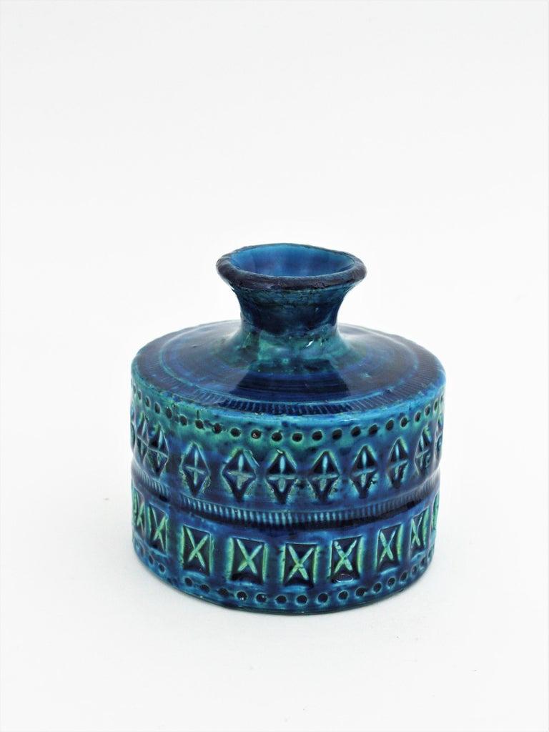 20th Century Bitossi Aldo Londi Rimini Blue Ceramic Set of Vase, Ashtray and Candleholder For Sale