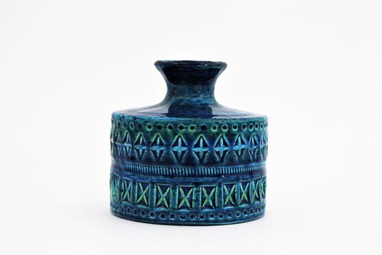Bitossi Aldo Londi Rimini Blue Ceramic Set of Vase, Ashtray and Candleholder For Sale 1