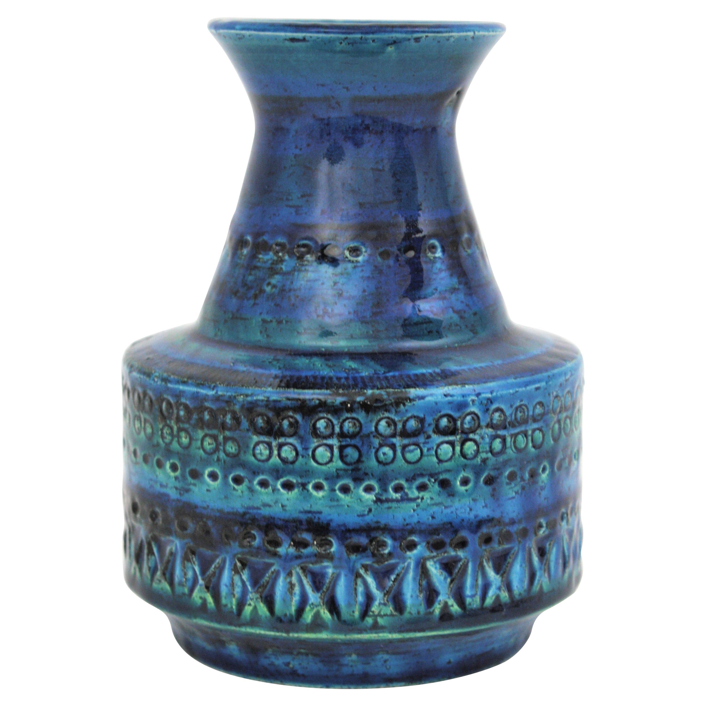 Bitossi Aldo Londi Rimini Blue Glazed Ceramic Conic Vase, 1960s