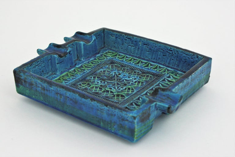 Bitossi Aldo Londi Rimini Blue Glazed Ceramic Large Square Ashtray For Sale 3