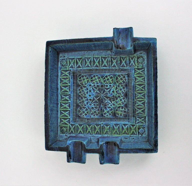 Bitossi Aldo Londi Rimini Blue Glazed Ceramic Large Square Ashtray For Sale 4