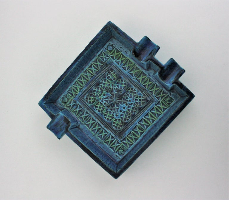 Bitossi Aldo Londi Rimini Blue Glazed Ceramic Large Square Ashtray For Sale 5