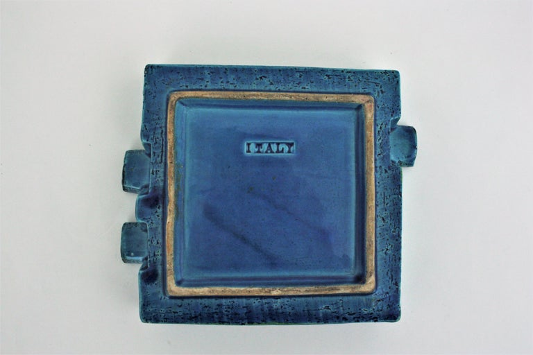 Bitossi Aldo Londi Rimini Blue Glazed Ceramic Large Square Ashtray For Sale 6