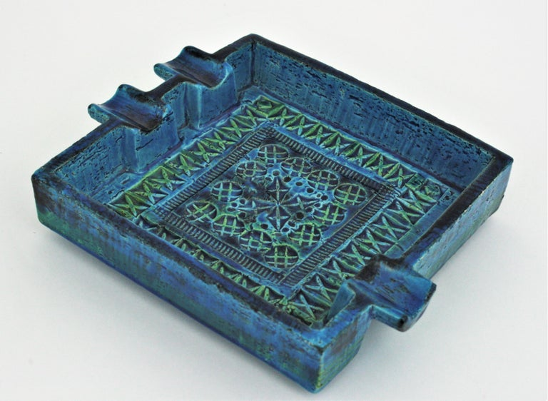 Mid-Century Modern Bitossi Aldo Londi Rimini Blue Glazed Ceramic Large Square Ashtray For Sale
