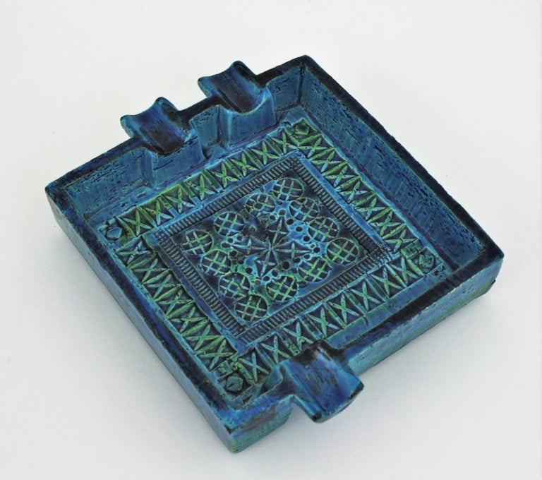 Bitossi Aldo Londi Rimini Blue Glazed Ceramic Large Square Ashtray In Good Condition For Sale In Barcelona, ES