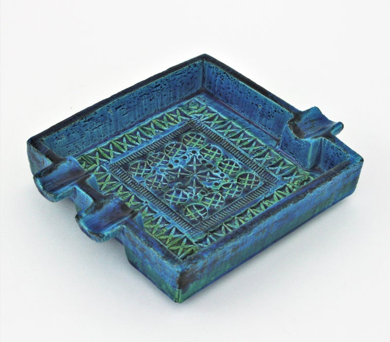 Bitossi Aldo Londi Rimini Blue Glazed Ceramic Large Square Ashtray For Sale 1