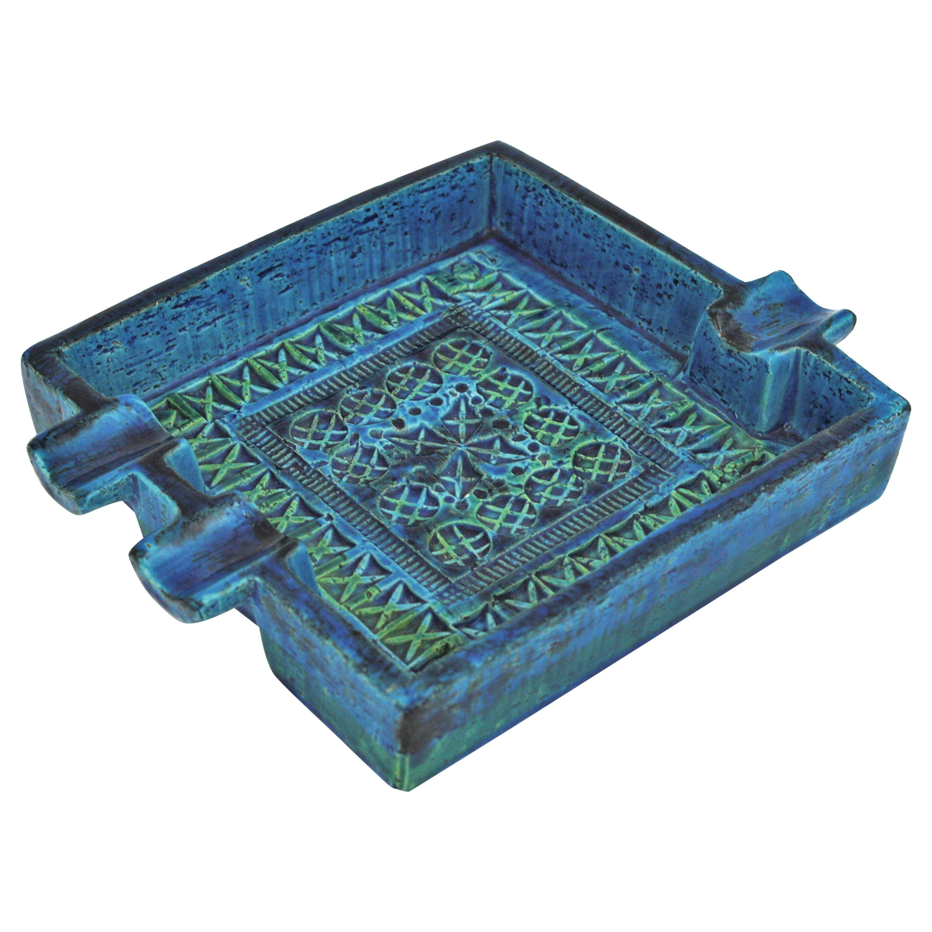 Bitossi Aldo Londi Rimini Blue Glazed Ceramic Large Square Ashtray