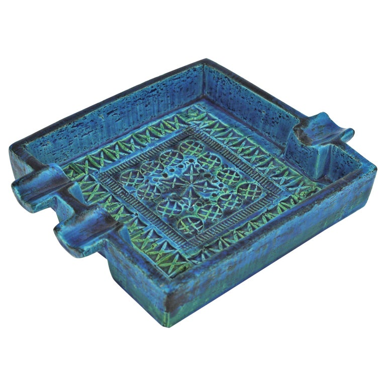 Bitossi Aldo Londi Rimini Blue Glazed Ceramic Large Square Ashtray For Sale