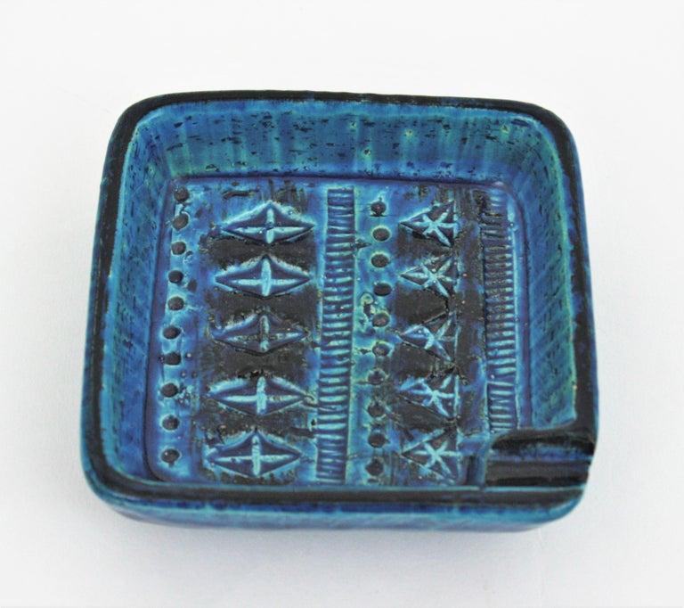 Bitossi Aldo Londi Rimini Blue Glazed Ceramic Square Ashtray, Italy, 1960s For Sale 3